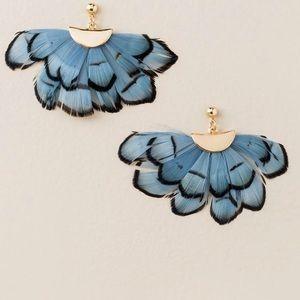 Francesca's Butterfly Fan Statement Earrings